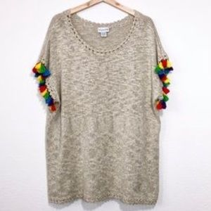 Soft surroundings tassel sleeve sweater